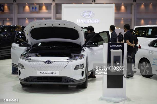 Hyundai Kona Electric on display during the Thailand International Motor Expo 2020 at Impact Challenger Muang Thong Thani on 1 December 1, 2020 in...
