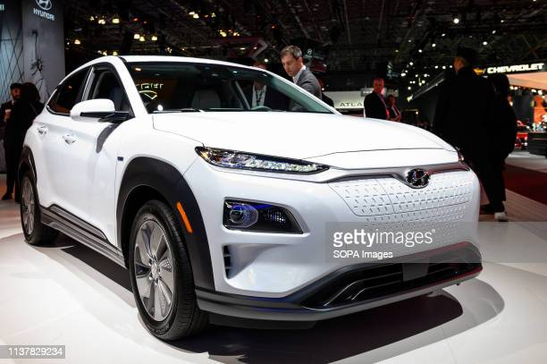 Hyundai Kona Electric seen at the New York International Auto Show at the Jacob K. Javits Convention Center in New York.