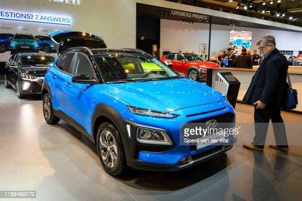 Hyundai Kona Hybrid compact crossover suv on display at Brussels Expo on January 9 2020 in Brussels Belgium