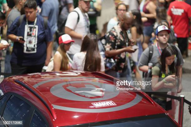 Hyundai Kona Iron Man Edition on display at the Marvel booth at San Diego ComicCon 2018 on July 19 2018 in San Diego California