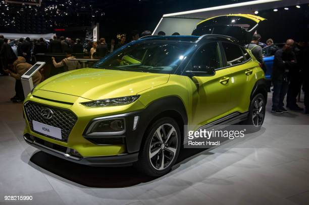 Hyundai Kona is displayed at the 88th Geneva International Motor Show on March 6 2018 in Geneva Switzerland Global automakers are converging on the...