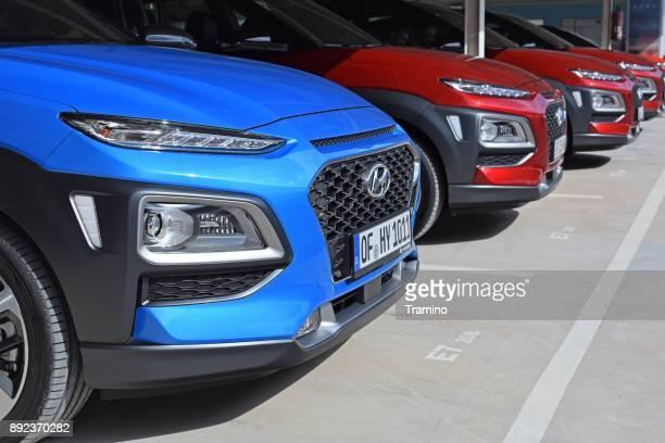 Hyundai Kona vehicles on the parking