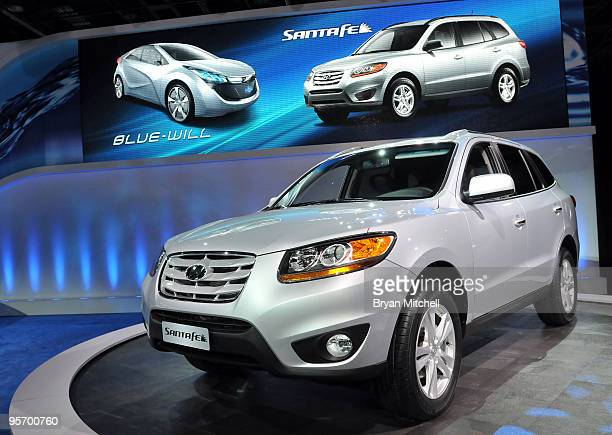 Hyundai Motor Co 2010 Santa Fe debuted during the press preview for the North American International Auto Show at the Cobo Center January 11 2010 in...