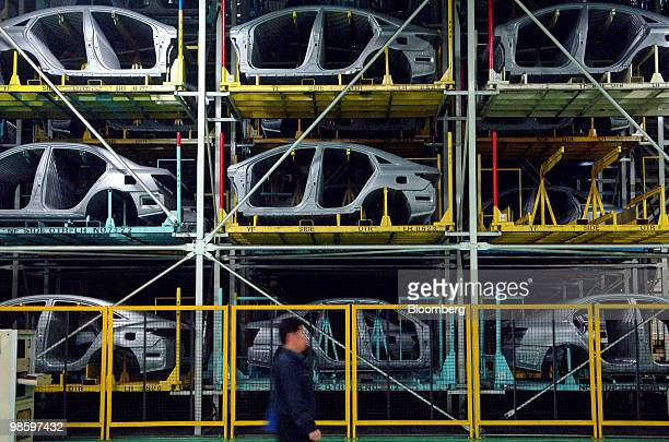Hyundai Motor Co automobile frames are stacked at the company's factory in Asan South Korea on Wednesday April 21 2010 Hyundai Motor Co South Korea's...