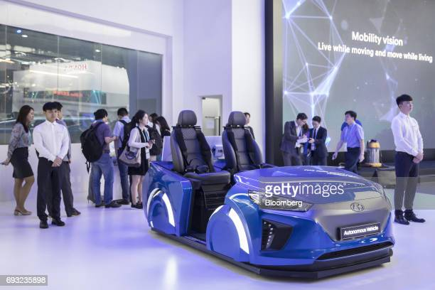 Hyundai Motor Co autonomous vehicles sit on display at the Consumer Electronics Show Asia in Shanghai China on Wednesday June 7 2017 The show runs...