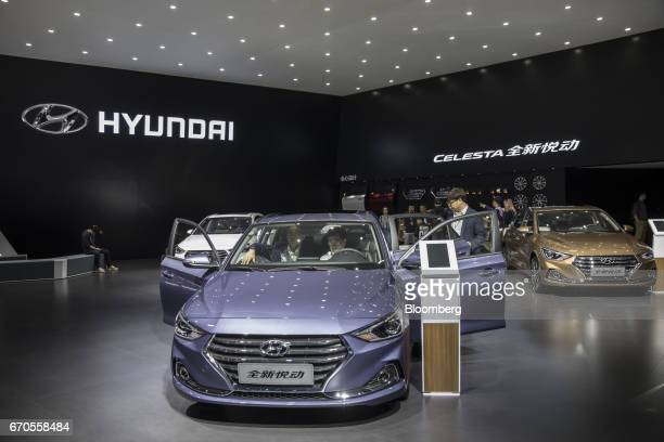 A Hyundai Motor Co Celesta sedan stands on display at the Auto Shanghai 2017 vehicle show in Shanghai China on Thursday April 20 2017 South...