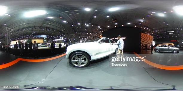 A Hyundai Motor Co Genesis GV80 concept vehicle sits on display during the 2017 New York International Auto Show in New York US on Thursday April 13...