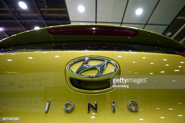 Hyundai Motor Co. Ioniq electric vehicle sits on the production line at the company's plant in Ulsan, South Korea, on Monday, July 4, 2016. South...