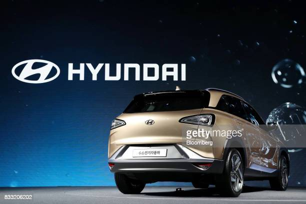 A Hyundai Motor Co next generation fuelcell electric sport utility vehicle stands on display during an unveiling event in Seoul South Korea on...