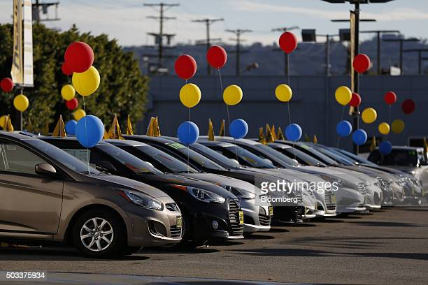 Hyundai Motor Co vehicles sit on display for sale on the lot of the Keyes Hyundai dealership in the Van Nuys neighborhood of Los Angeles California...