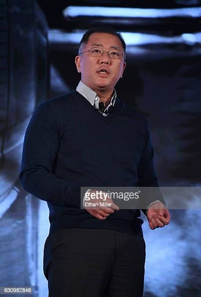 Hyundai Motor Co Vice Chairman Euisun Chung speaks during a press event for CES 2017 at the Mandalay Bay Convention Center on January 4 2017 in Las...