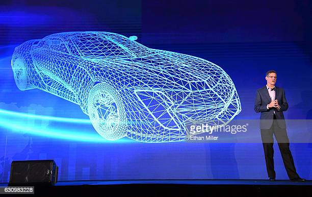Hyundai Motor Co Vice President Mike O'Brien speaks during a press event for CES 2017 at the Mandalay Bay Convention Center on January 4 2017 in Las...