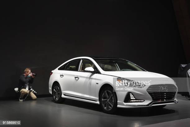 Hyundai Motor Company shows off a 2019 Sonata Hybrid at the Chicago Auto Show on February 8 2018 in Chicago Illinois The show is the nation's largest...