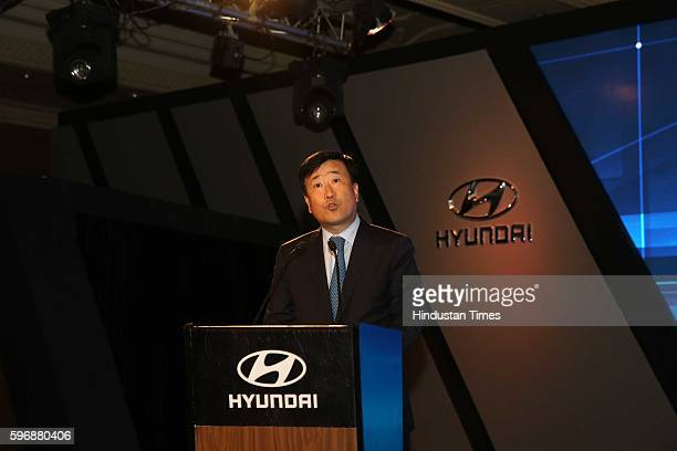 Hyundai Motor India MD and CEO YK Koo during the launch of new sixth generation premium sedan Elantra car at Taj Palace, on August 23, 2016 in New...