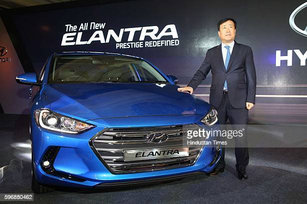 Hyundai Motor India MD and CEO YK Koo poses during the launch of new sixth generation premium sedan Elantra car at Taj Palace, on August 23, 2016 in...