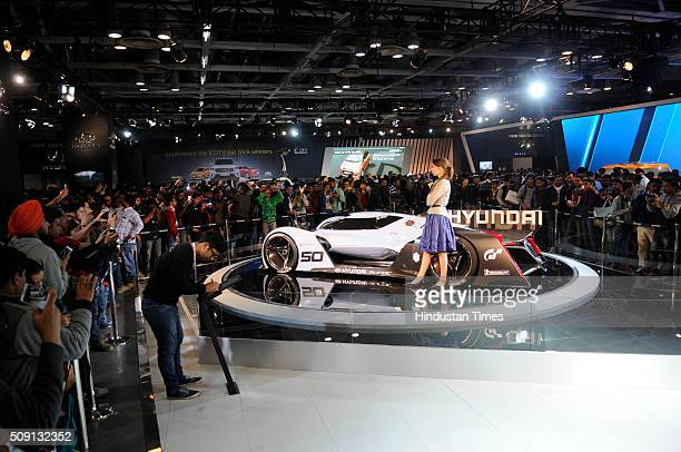 Hyundai N 2025 Vision Gran Turismo concept displayed at the Auto Expo 2016 on February 8 2016 in Greater Noida India People thronged at the Auto Expo...