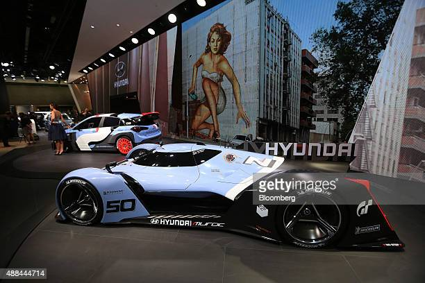 A Hyundai N 50 Gran Turismo concept automobile produced by Hyundai Motor Co sits on display at the IAA Frankfurt Motor Show in Frankfurt Germany on...