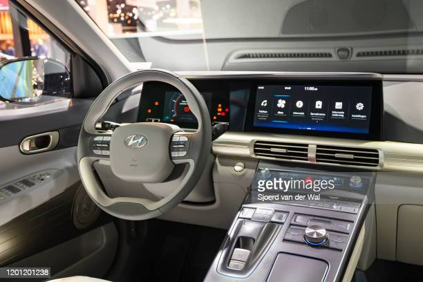 Hyundai Nexo hydrogen fuel cell powered crossover SUV interior on display at Brussels Expo on January 9, 2020 in Brussels, Belgium. The Nexo uses a...