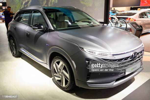 Hyundai Nexo hydrogen fuel cell powered crossover SUV on display at Brussels Expo on January 9, 2020 in Brussels, Belgium. The Nexo uses a...