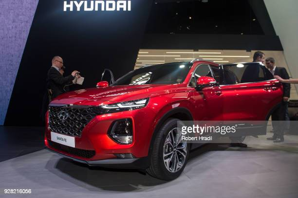 Hyundai Santa Fe is displayed at the 88th Geneva International Motor Show on March 6 2018 in Geneva Switzerland Global automakers are converging on...