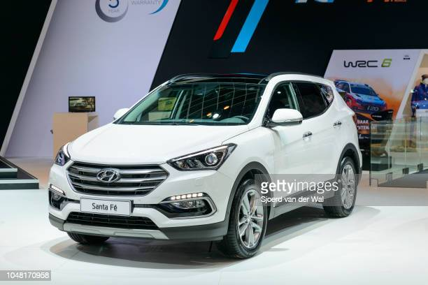 Hyundai Santa Fe SUV car on display at Brussels Expo on January 13 2017 in Brussels Belgium The Santa Fe is available as Grand Santa Fe and a shorter...