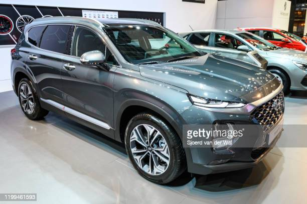 Hyundai Santa Fe SUV on display at Brussels Expo on January 9 2020 in Brussels Belgium