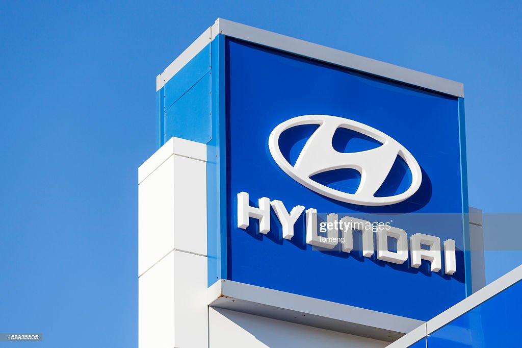 Hyundai Sign at Car Dealership : Stock Photo