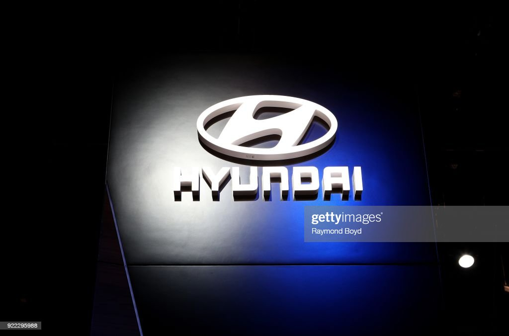 Hyundai signage is on display at the 110th Annual Chicago Auto Show at McCormick Place in Chicago, Illinois on February 9, 2018.