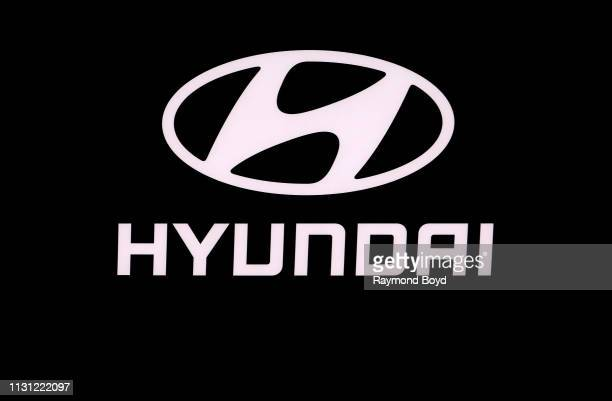 Hyundai signage is on display at the 111th Annual Chicago Auto Show at McCormick Place in Chicago Illinois on February 8 2019