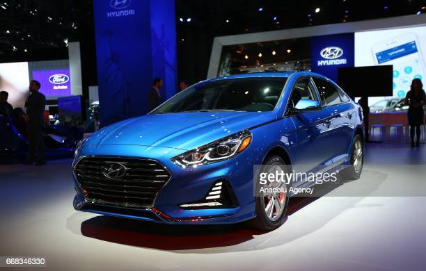Hyundai Sonata is displayed at the New York International Auto Show in New York City, United States on April 13, 2017.