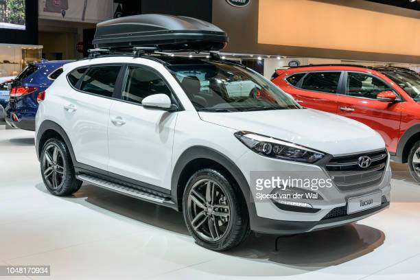 Hyundai Tucson compact SUV car on display at Brussels Expo on January 13 2017 in Brussels Belgium The third generation of the Hyundai Tucson is...