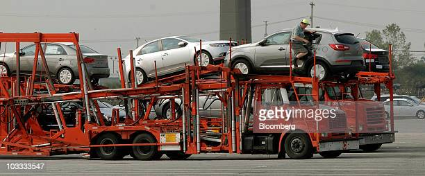Hyundai vehicles are loaded for delivery to auto dealerships at the Philadelphia Regional Port Authority's 98 Annex facility in Philadelphia...