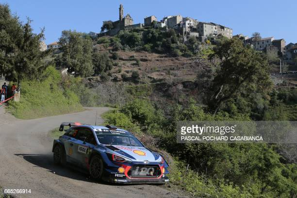 Hyunday Motorsport team's Belgian pilot Thierry Neuville and belgian copilot Nicolas Gilsoul compete during the shakedown of the Tour de Corse rally...