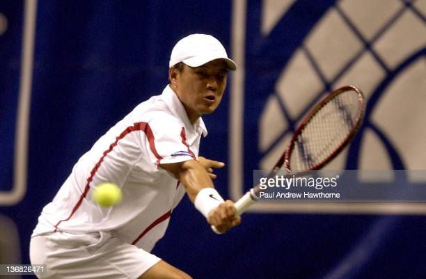 HyungTaik Lee of hits a return shot during his match with Mardy Fish at the 2004 Siebel Open in San Jose California February 13 2004 Fish won the...