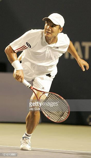 Hyung-Taik Lee of Korea in action during his 2nd round match against Rafael Nadal of Spain in the Rogers Cup at the Rexall Centre in Toronto, Canada....