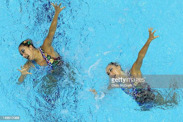 Hyunha Park and Hynsun Park of Korea compete in the Women's Duets Synchronised Swimming Free Routine Preliminary on Day 10 of the London 2012 Olympic...