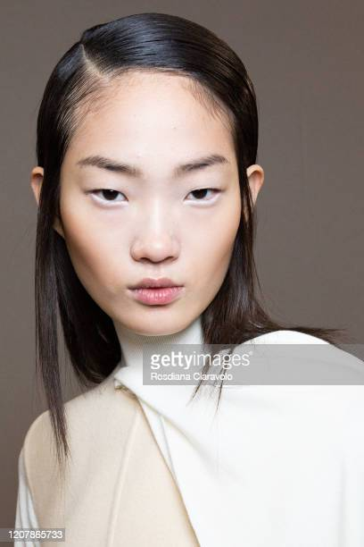 HyunJi Shin is seen backstage at the Sportmax fashion show on February 21, 2020 in Milan, Italy.