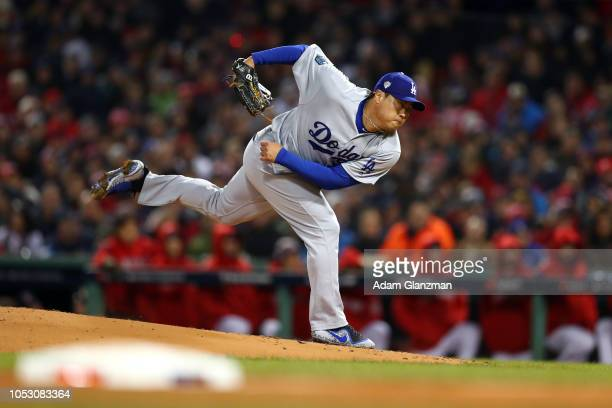 HyunJin Ryu of the Los Angele Dodgers pitches in the first inning during Game 2 of the 2018 World Series against the Boston Red Sox at Fenway Park on...