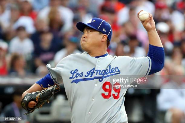 HyunJin Ryu of the Los Angeles Dodgers and the National League pitches during the 2019 MLB AllStar Game presented by Mastercard at Progressive Field...