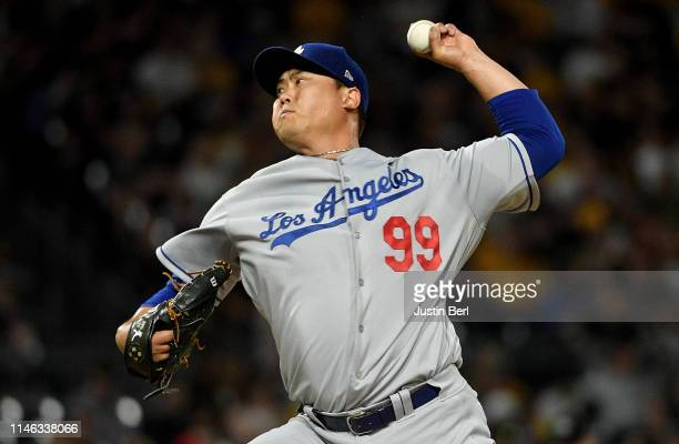 HyunJin Ryu of the Los Angeles Dodgers delivers a pitch in the second inning during the game against the Pittsburgh Pirates at PNC Park on May 25...