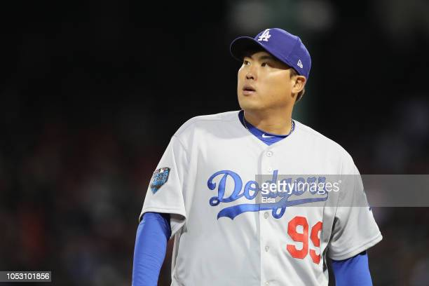 HyunJin Ryu of the Los Angeles Dodgers is removed from the game during the fifth inning against the Boston Red Sox in Game Two of the 2018 World...