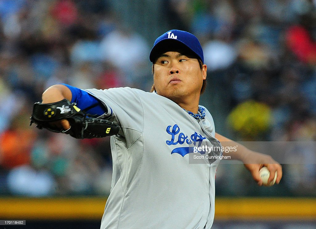 Hyun-Jin Ryu #99 of the Los Angeles Dodgers pitches against the Atlanta Braves at Turner Field on May 17, 2013 in Atlanta, Georgia.