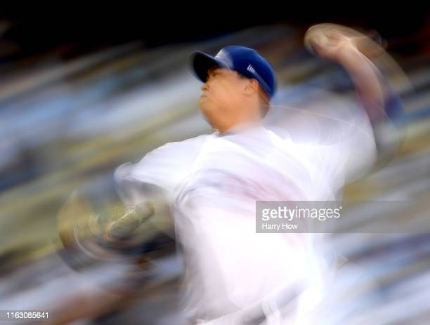 HyunJin Ryu of the Los Angeles Dodgers pitches against the Miami Marlins during the second inning at Dodger Stadium on July 19 2019 in Los Angeles...