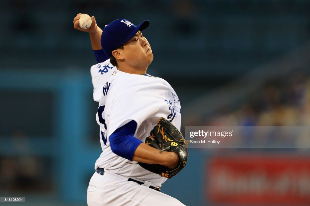 Hyun-Jin Ryu #99 of the Los Angeles Dodgers pitches during the first inning of a game against the Arizona Diamondbacks at Dodger Stadium on September 5, 2017 in Los Angeles, California.