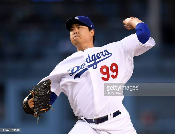 HyunJin Ryu of the Los Angeles Dodgers pitches during the first inning against the Atlanta Braves at Dodger Stadium on May 07 2019 in Los Angeles...