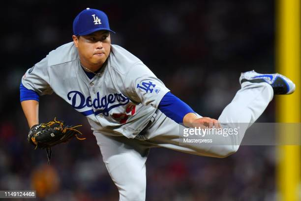 HyunJin Ryu of the Los Angeles Dodgers pitches during the MLB game between Los Angeles Angels and Los Angeles Dodgers at Angel Stadium of Anaheim on...