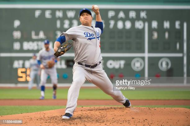 HyunJin Ryu of the Los Angeles Dodgers pitches in the first inning against the Boston Red Sox at Fenway Park on July 14 2019 in Boston Massachusetts