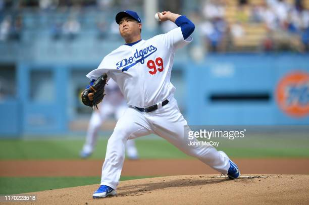 Hyun-Jin Ryu of the Los Angeles Dodgers pitches in the first inning against the Colorado Rockies at Dodger Stadium on September 22, 2019 in Los...