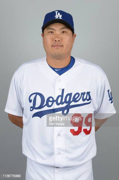 HyunJin Ryu of the Los Angeles Dodgers poses during Photo Day on Thursday February 20 2019 at Camelback Ranch in Glendale Arizona