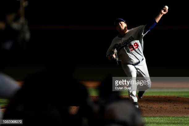 HyunJin Ryu of the Los Angeles Dodgers throws a pitch against the Milwaukee Brewers during the first inning in Game Two of the National League...